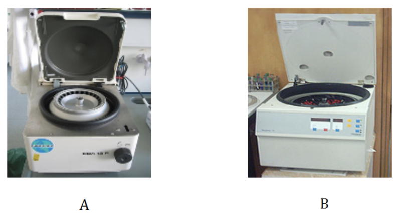 Figure 2. Typical small bench centrifuges that holds microfuge tubes A and test tubes B