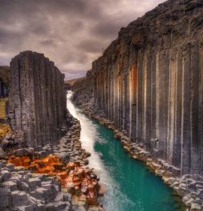 Figure 4. Studlagil basalt canyon, Iceland