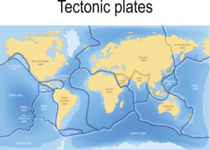 Figure 3. World map showing tectonic plates